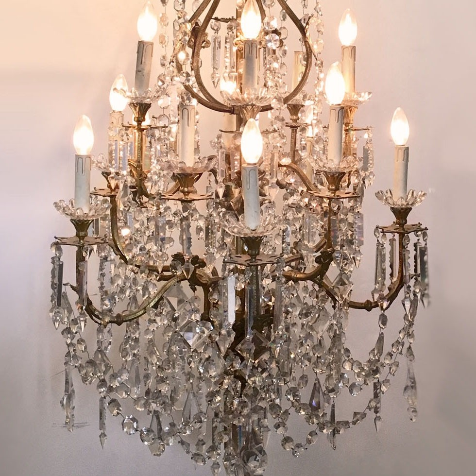 Large antique gilt bronze French chandelier