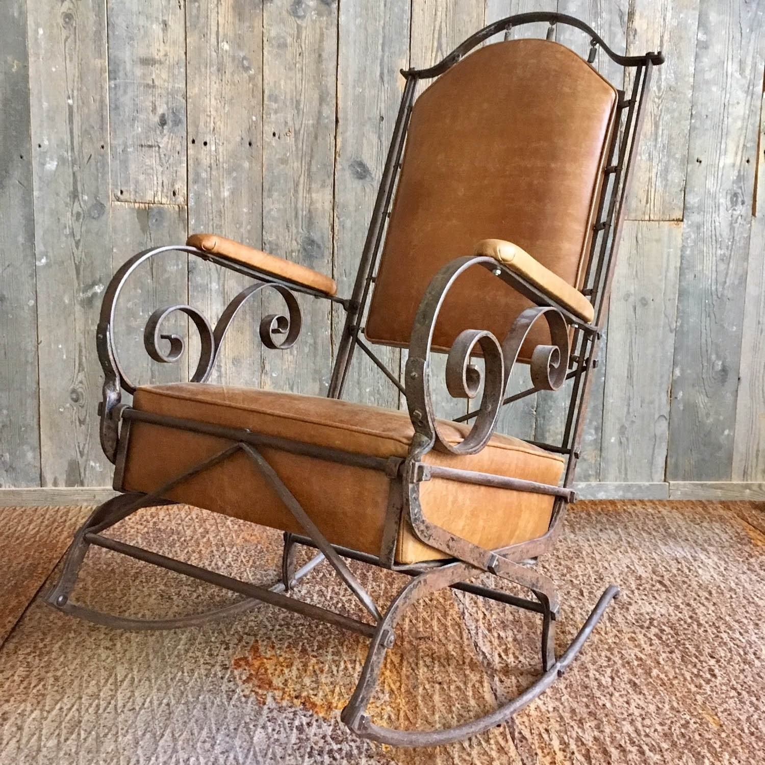 19th Century Wrought Iron and Leather Rocking Chair