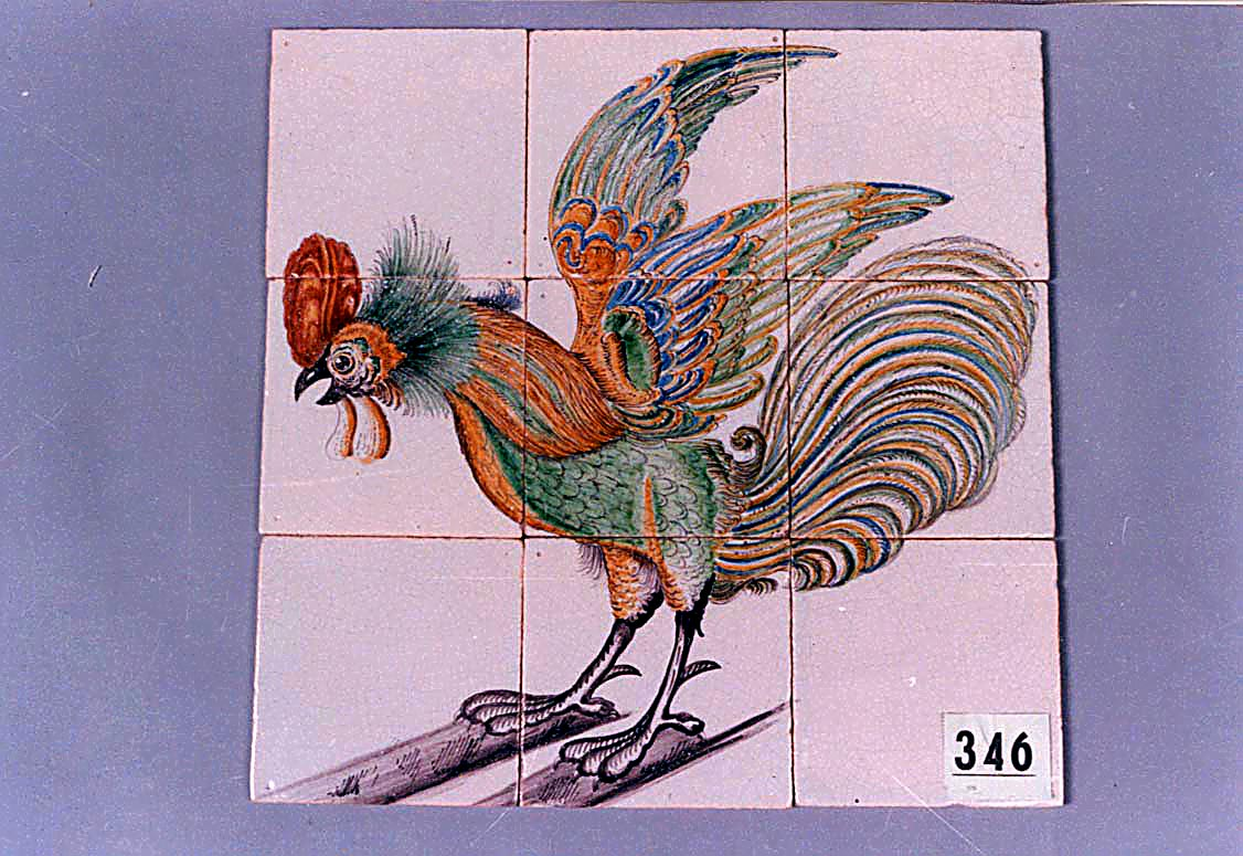 Tiled tableau of a polychrome painted cockerel
