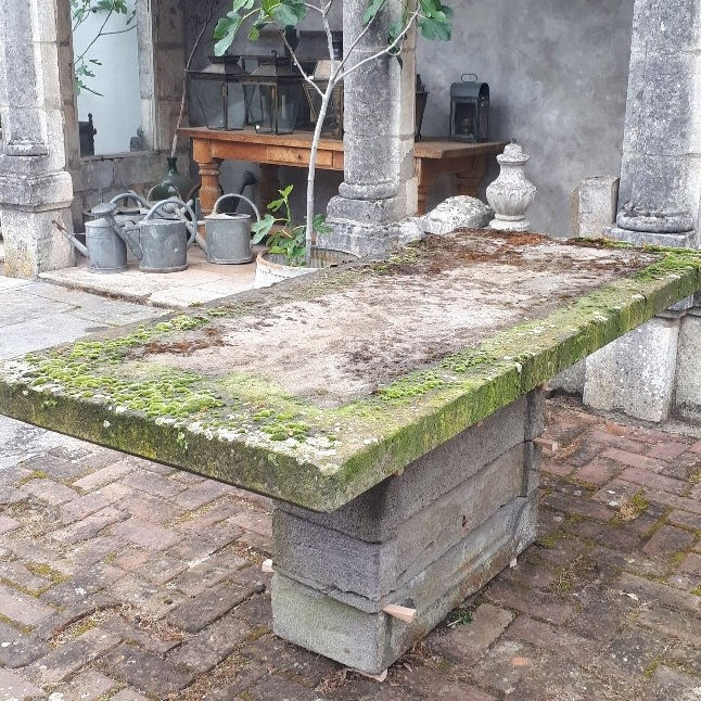 Garden table lava rock early 20th century