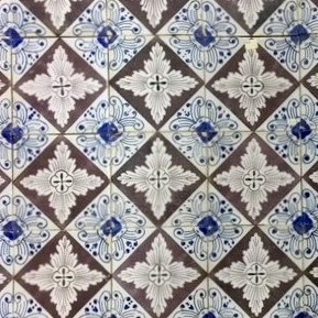 Antique wall tiles with decorative pattern