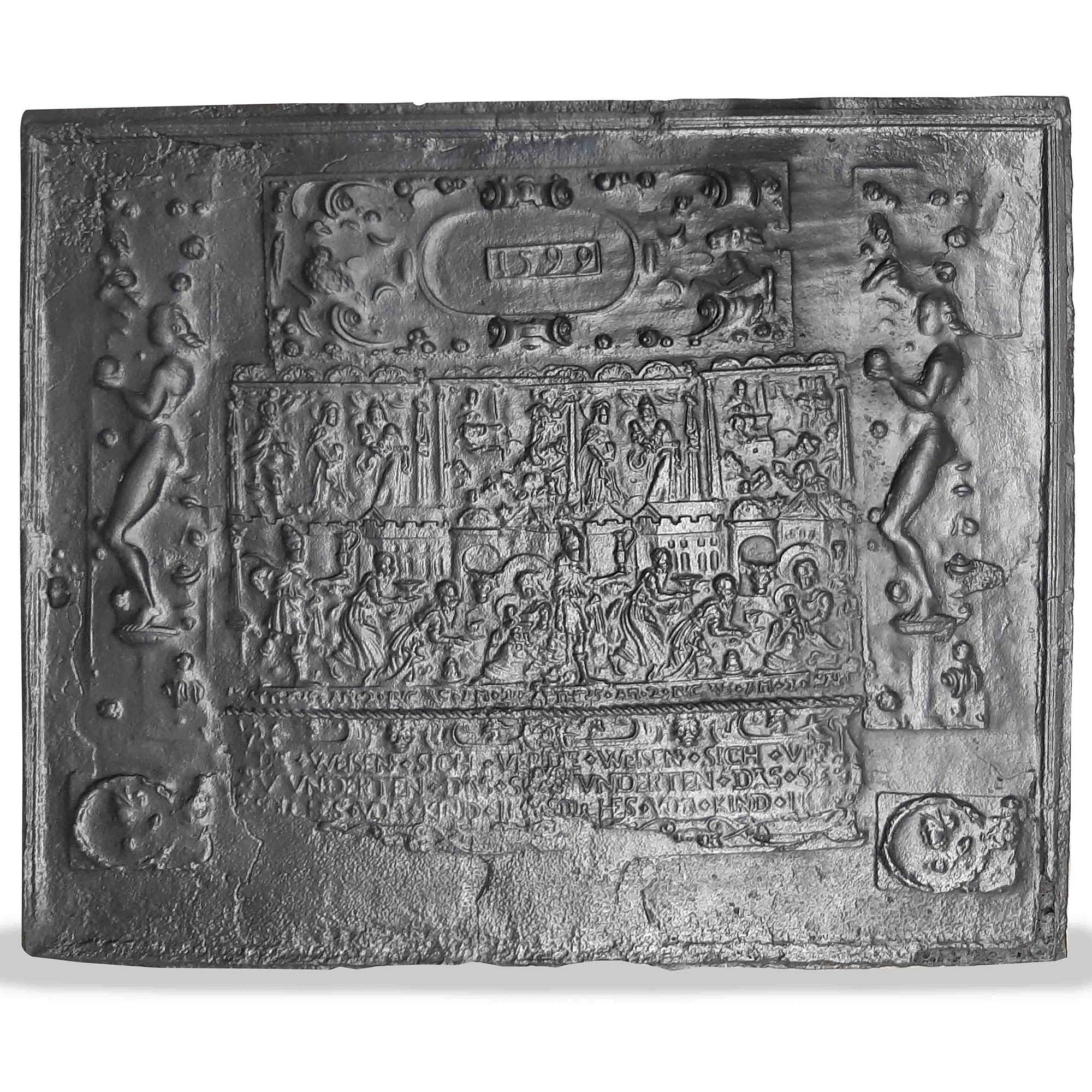 Antique 16th century fireplace back plate with the birth of Christ depicted