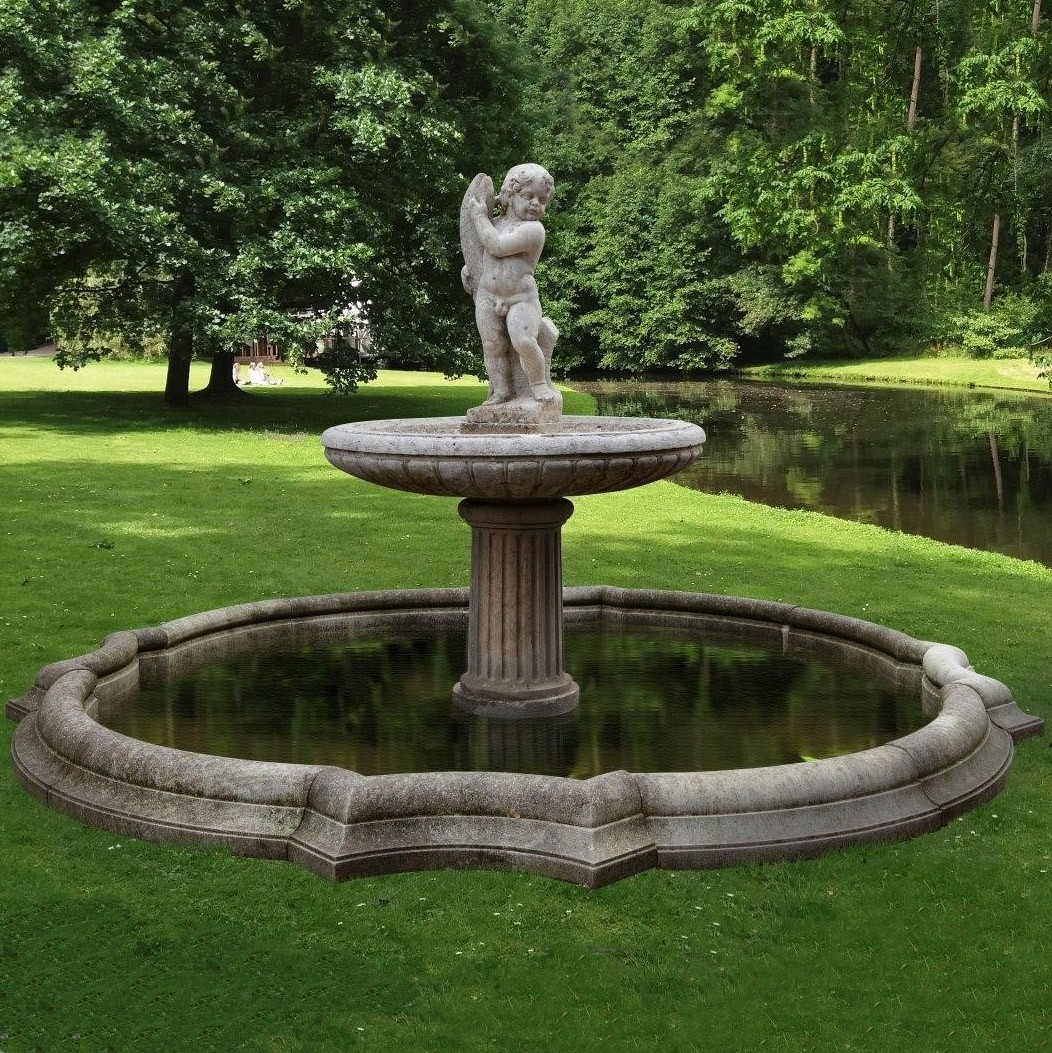 Antique 19th century sculpted decorative garden fountain in marble and limestone