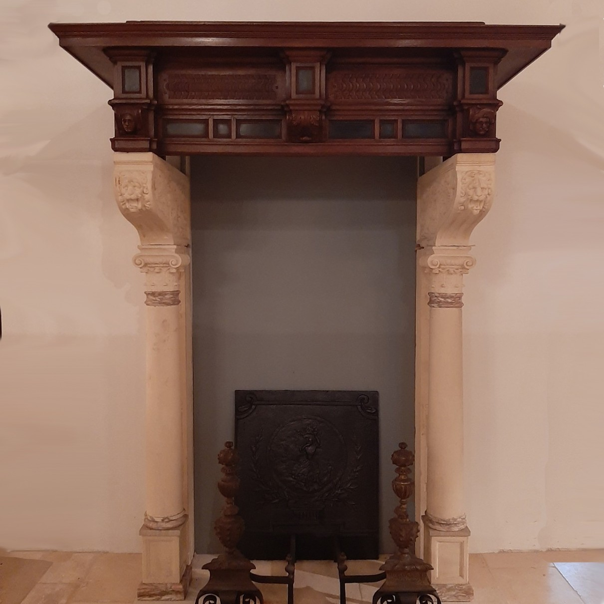 Antique high castle fireplace with sandstone columns