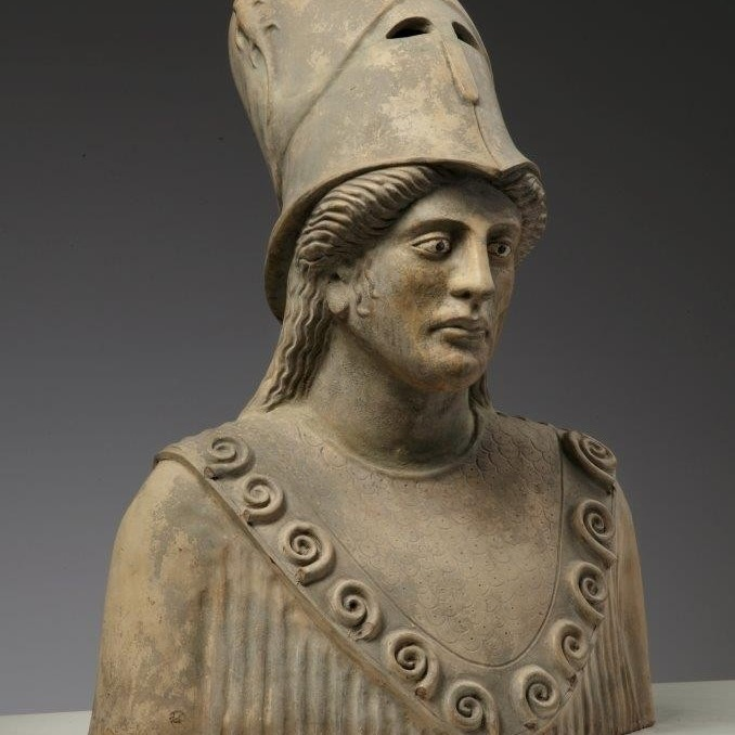 Antique sculpted terracotta bust of Pallas Athena