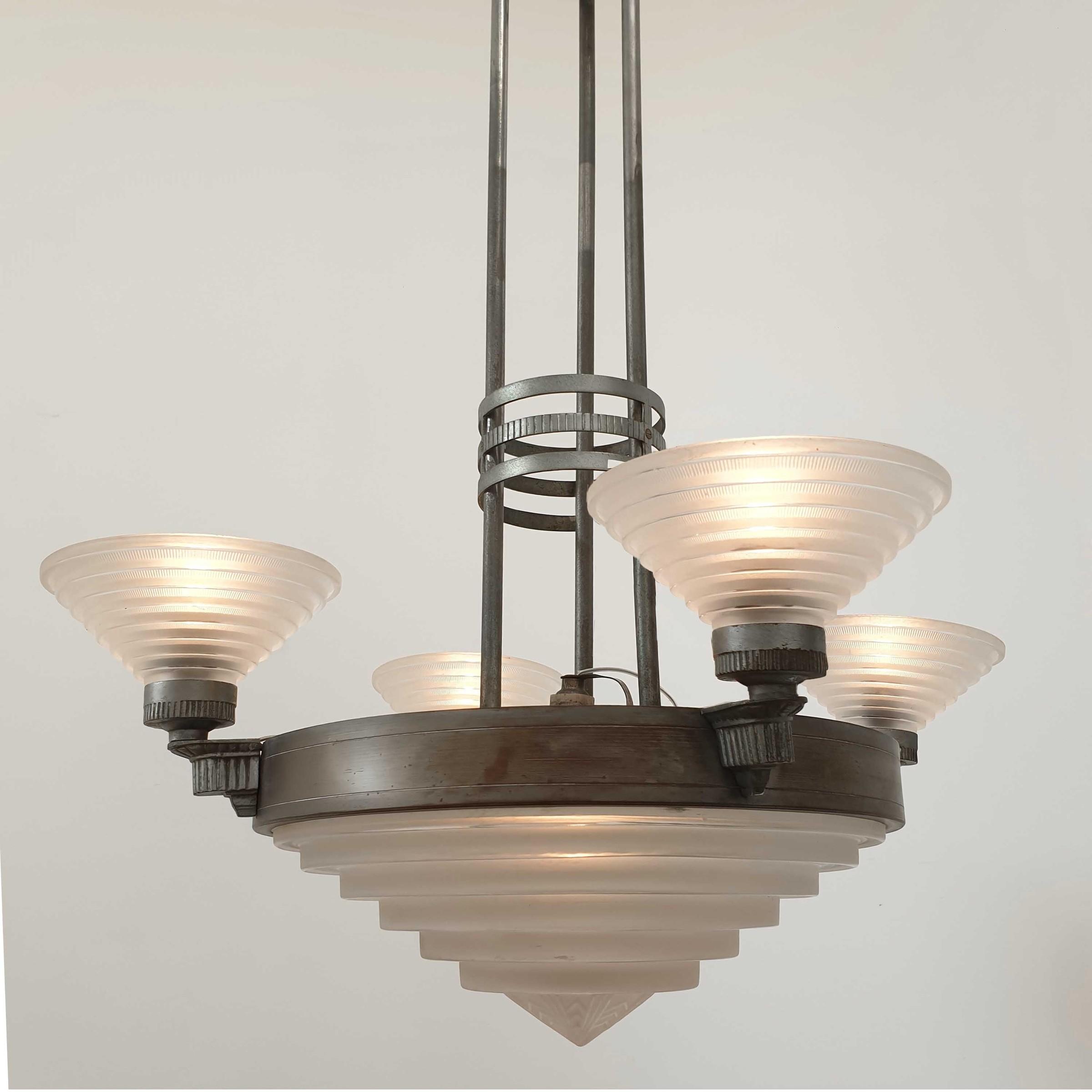 Art deco hanging lamp by Jules Leleu