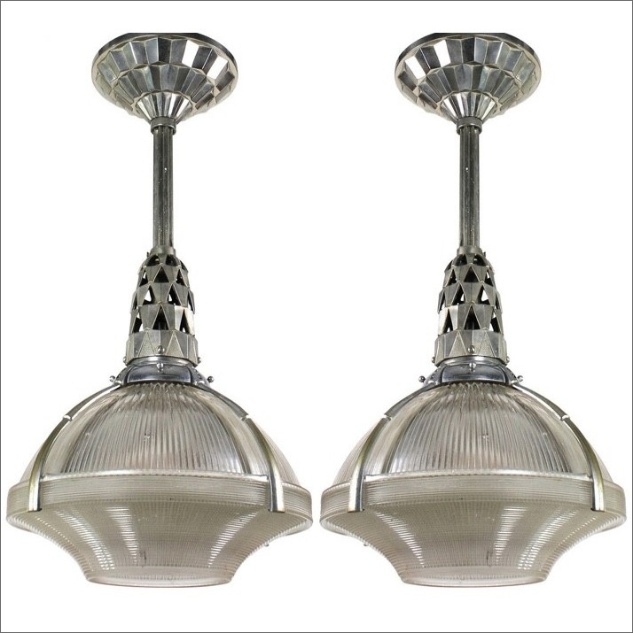 """Nickel plated bronze ceiling lamp """"Holophane"""" with glass shade, design Jacques Emile Ruhlman"""