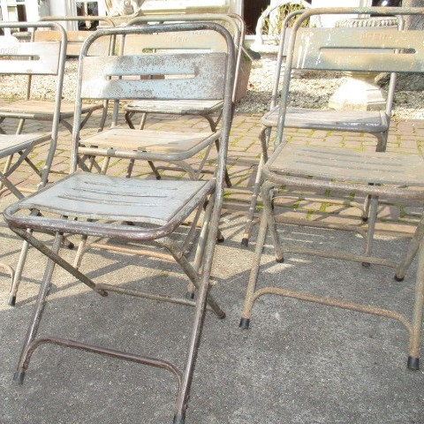 batch of old metal terrace chairs