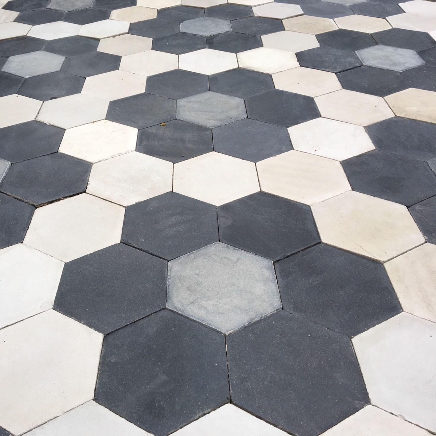 Batch of old hexagon cement floor tiles