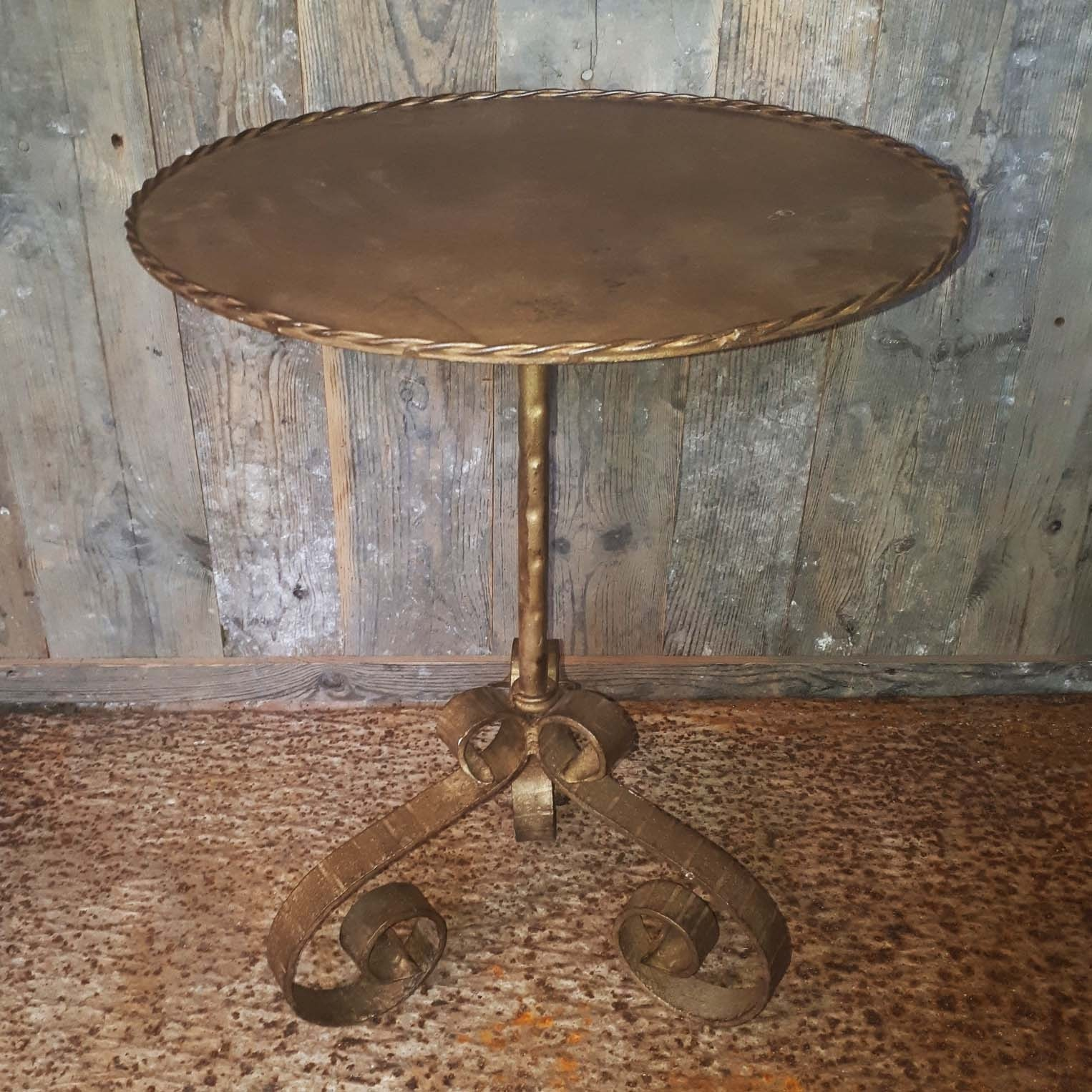 Old side table antique gold H 60 x D 45 cm