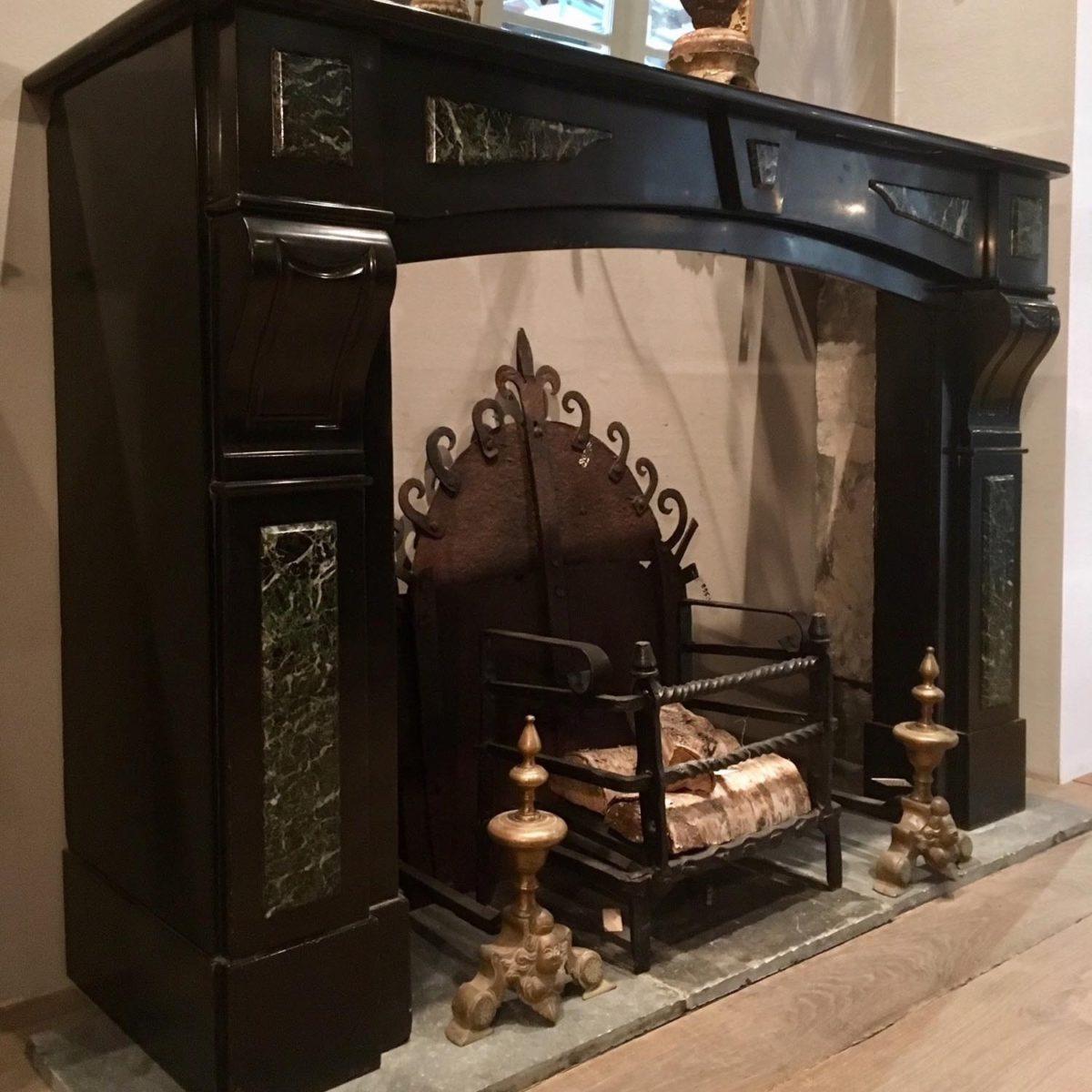 Black Marble Fireplace Made Around 1900 Piet Jonker