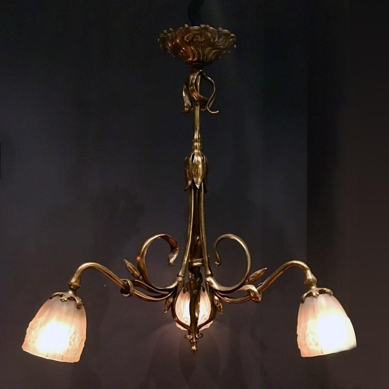 Bronze art nouveau chandelier