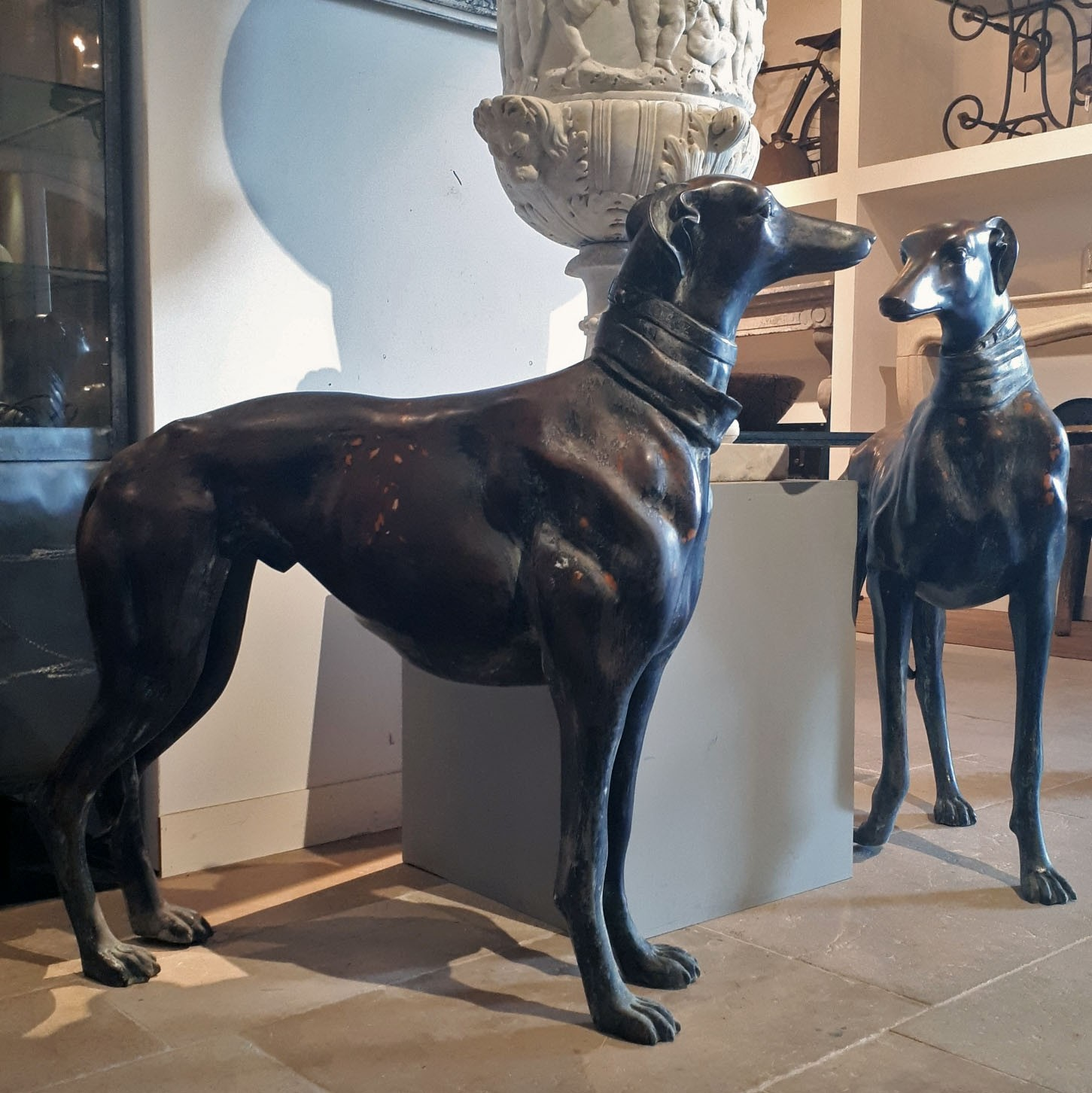Set large bronze greyhounds
