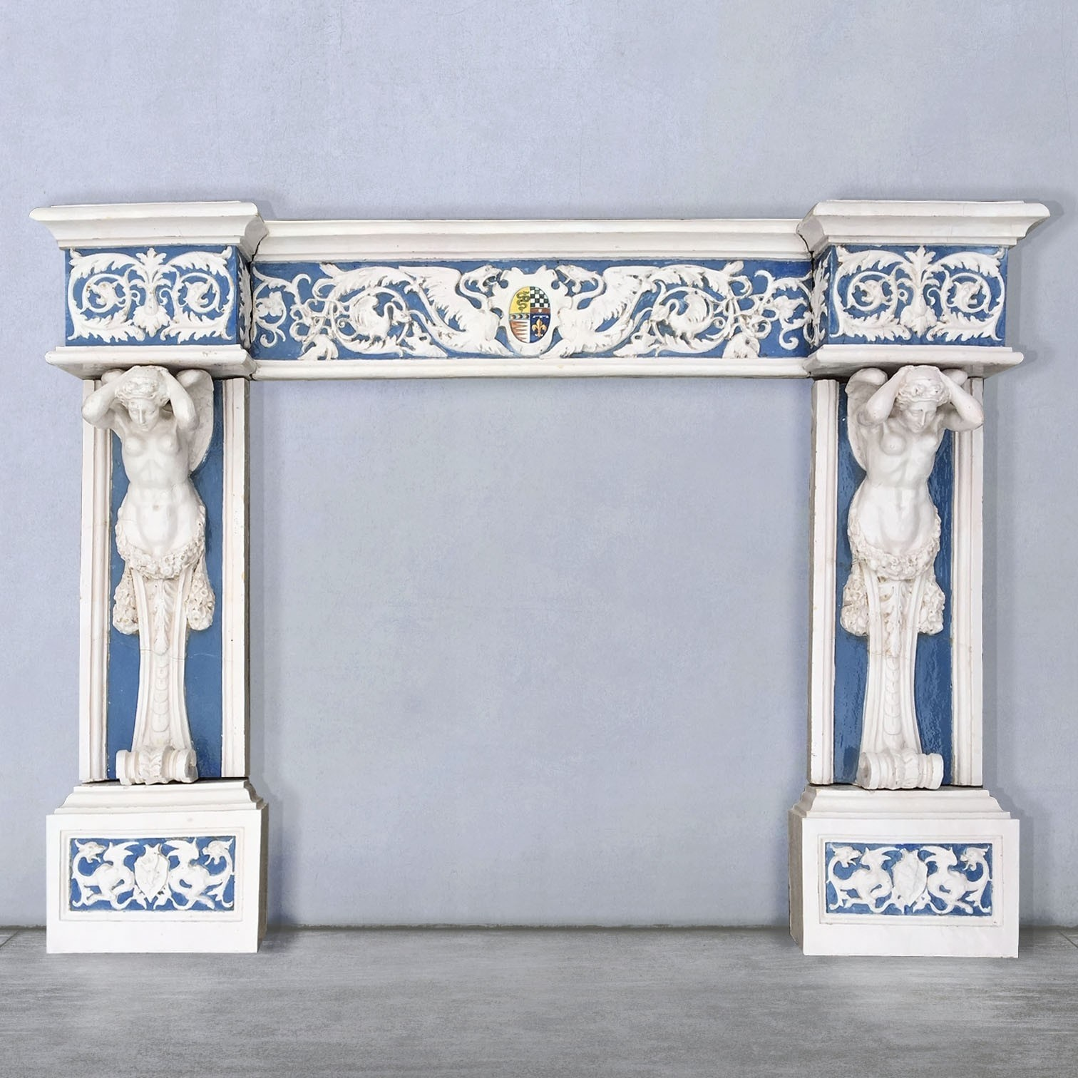 Cantagalli fireplace 19th century pottery Della Robbia style