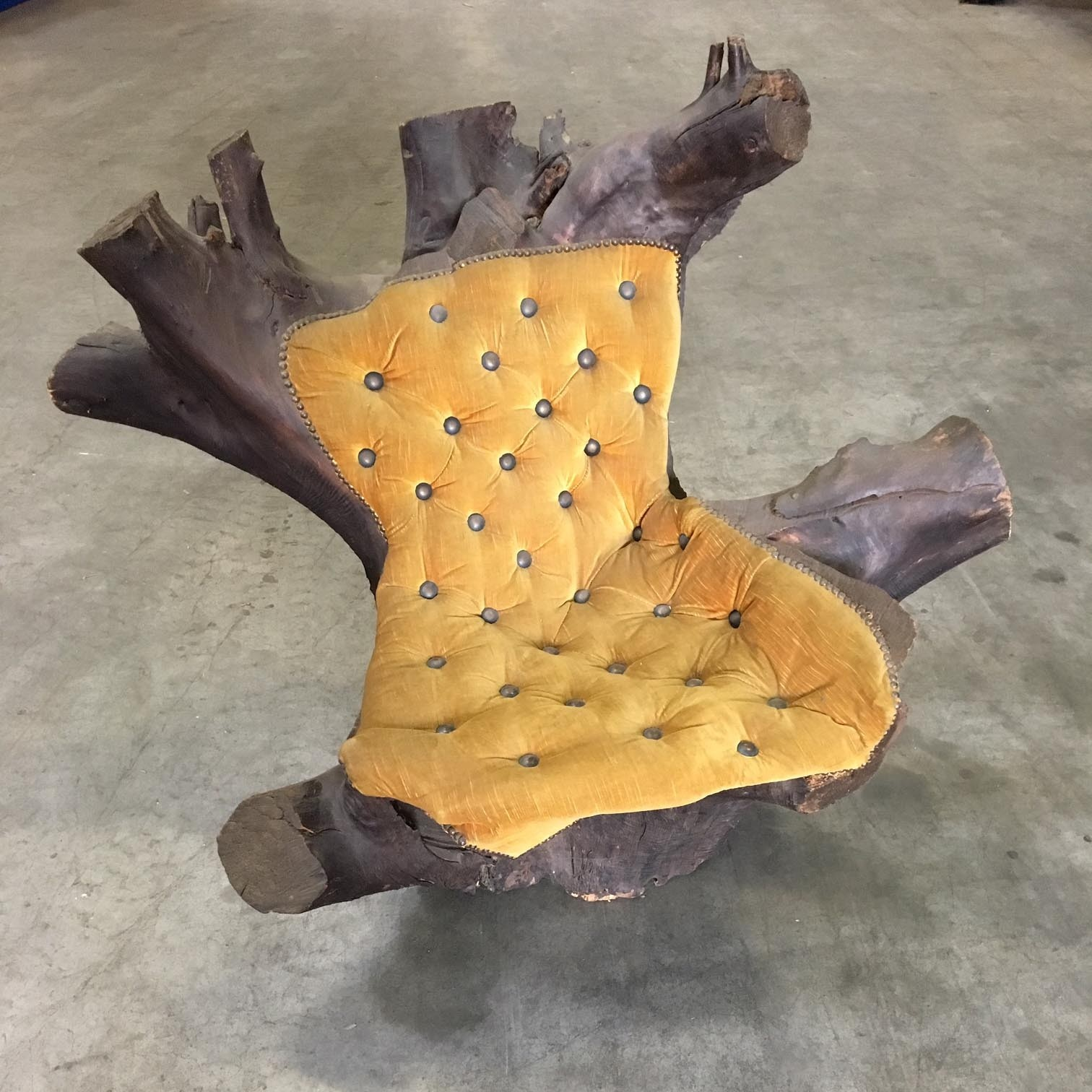 Chair made from tree trunk