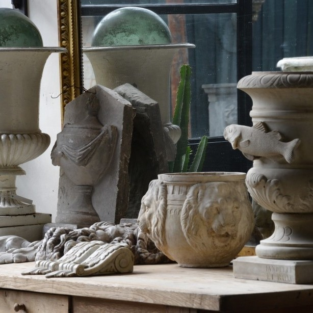 Collection of marble vases and ornaments
