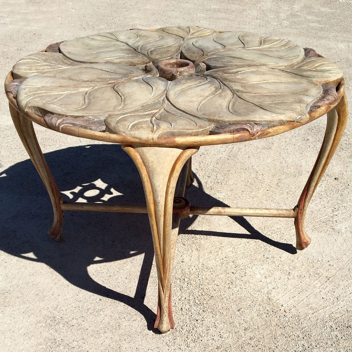 Vintage Italian Carved Wood Round Table with Large Leaf Table top 1970s