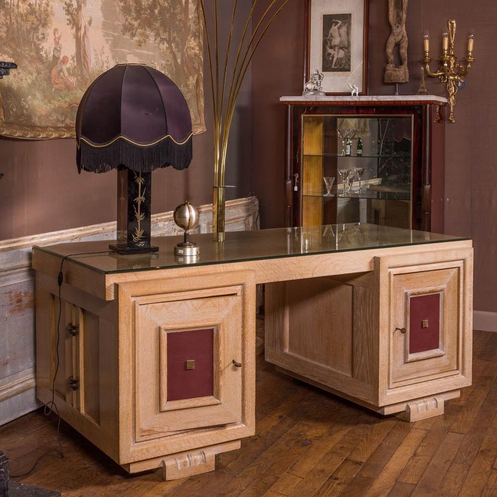 Charles Dudouyt oak partner desk 1930s