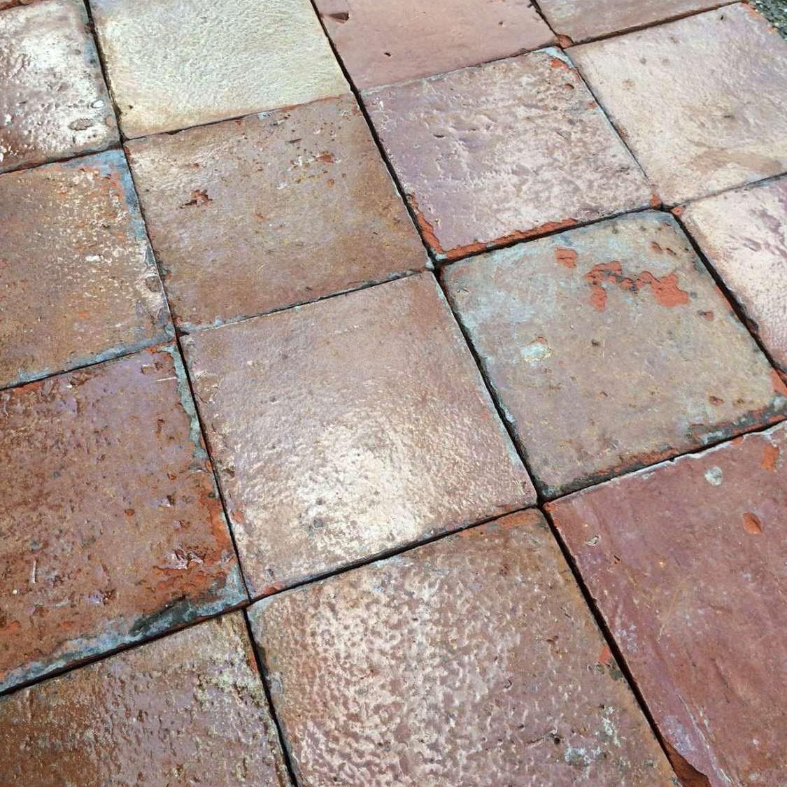 Dutch antique glazed terracotta floor tiles