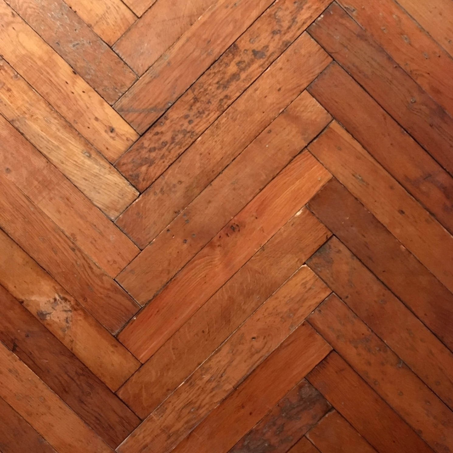 Early 20th century fishbone floorboards
