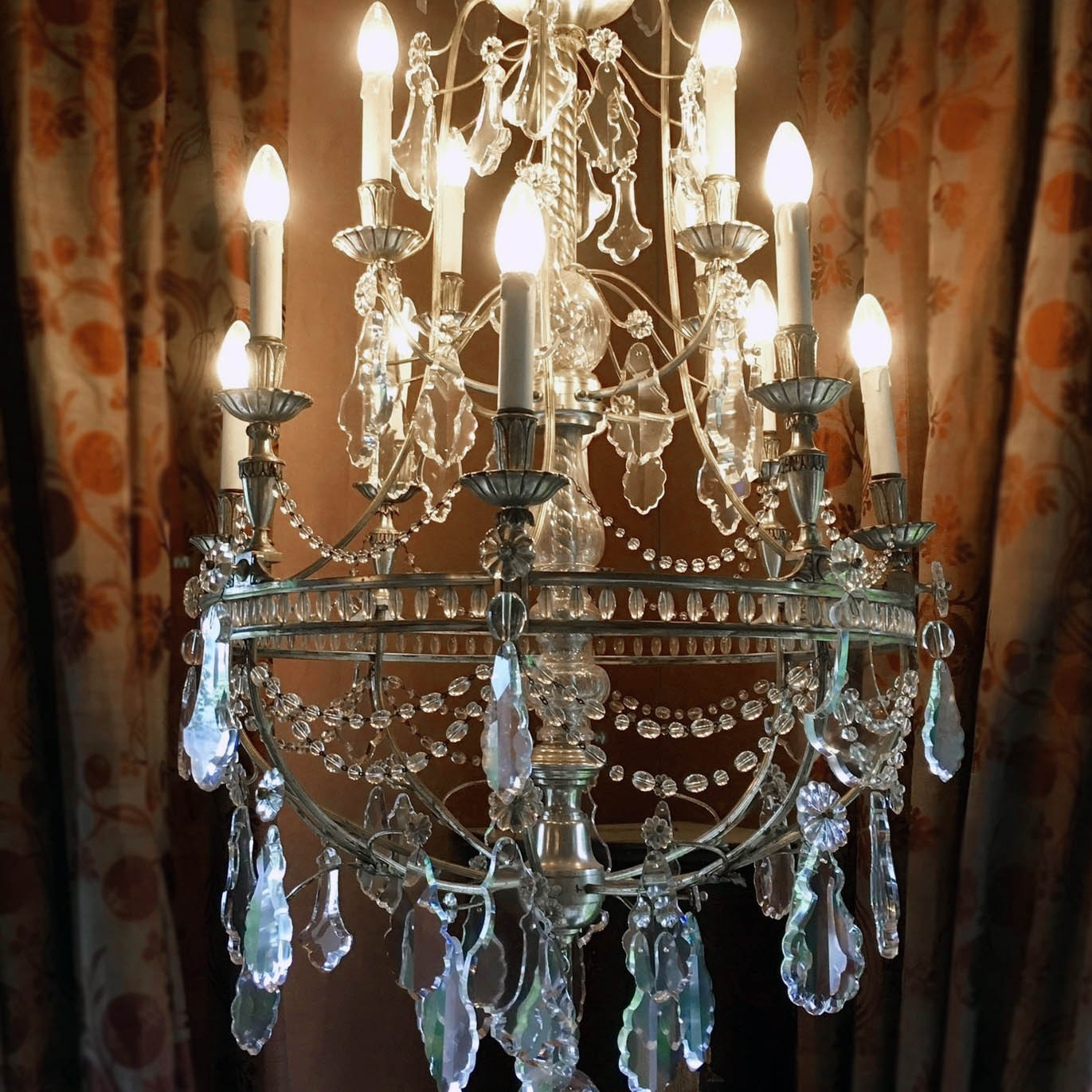 Early 20th Century silvered chandelier