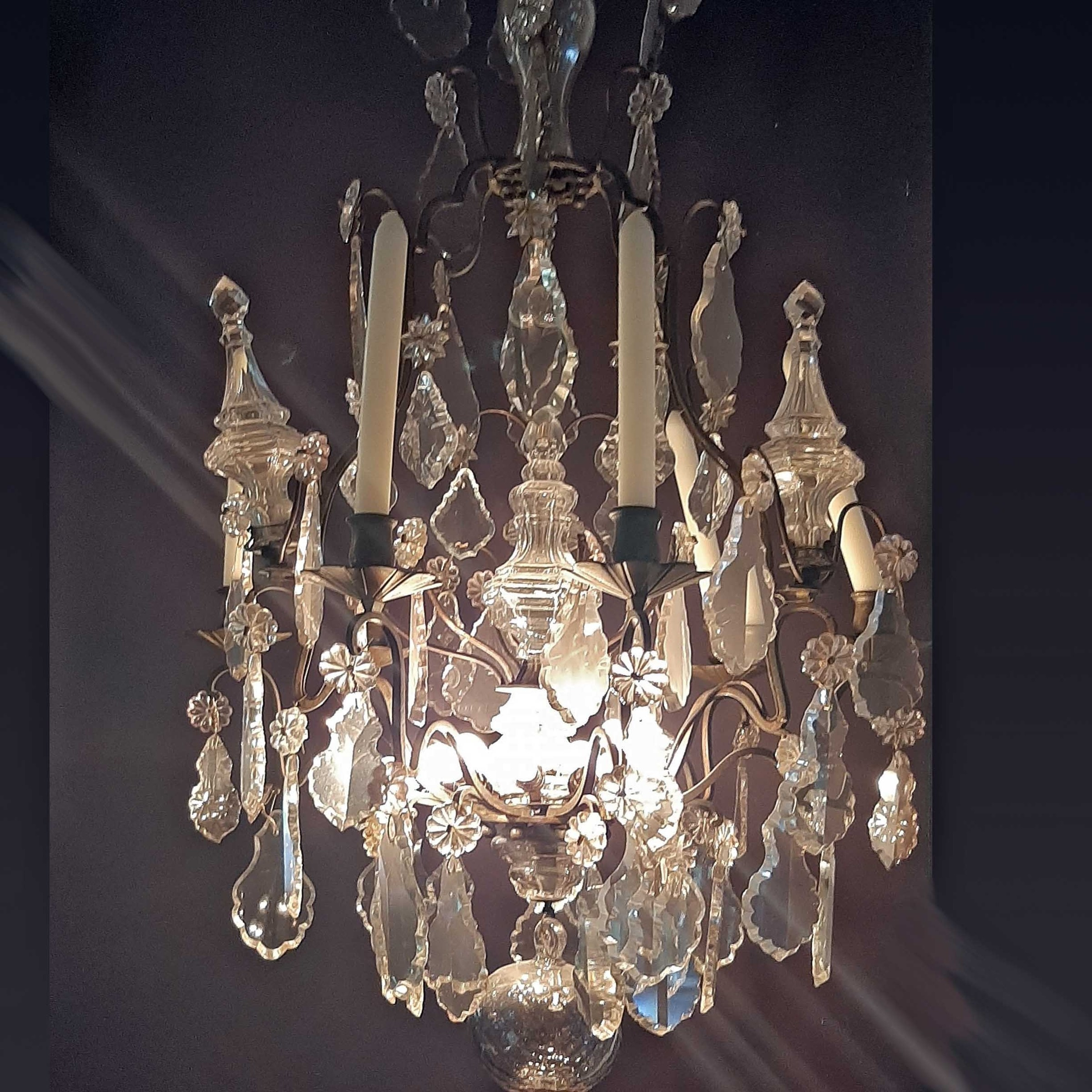 Antique French cut-glass chandelier