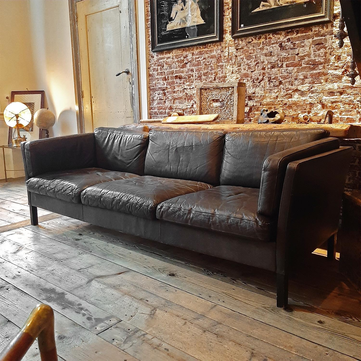 Genuine old vintage brown leather couch