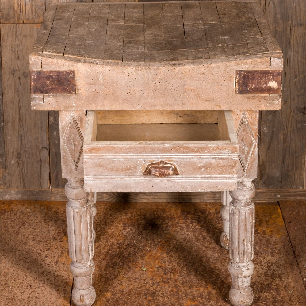 Old butchers block with drawer 18th century