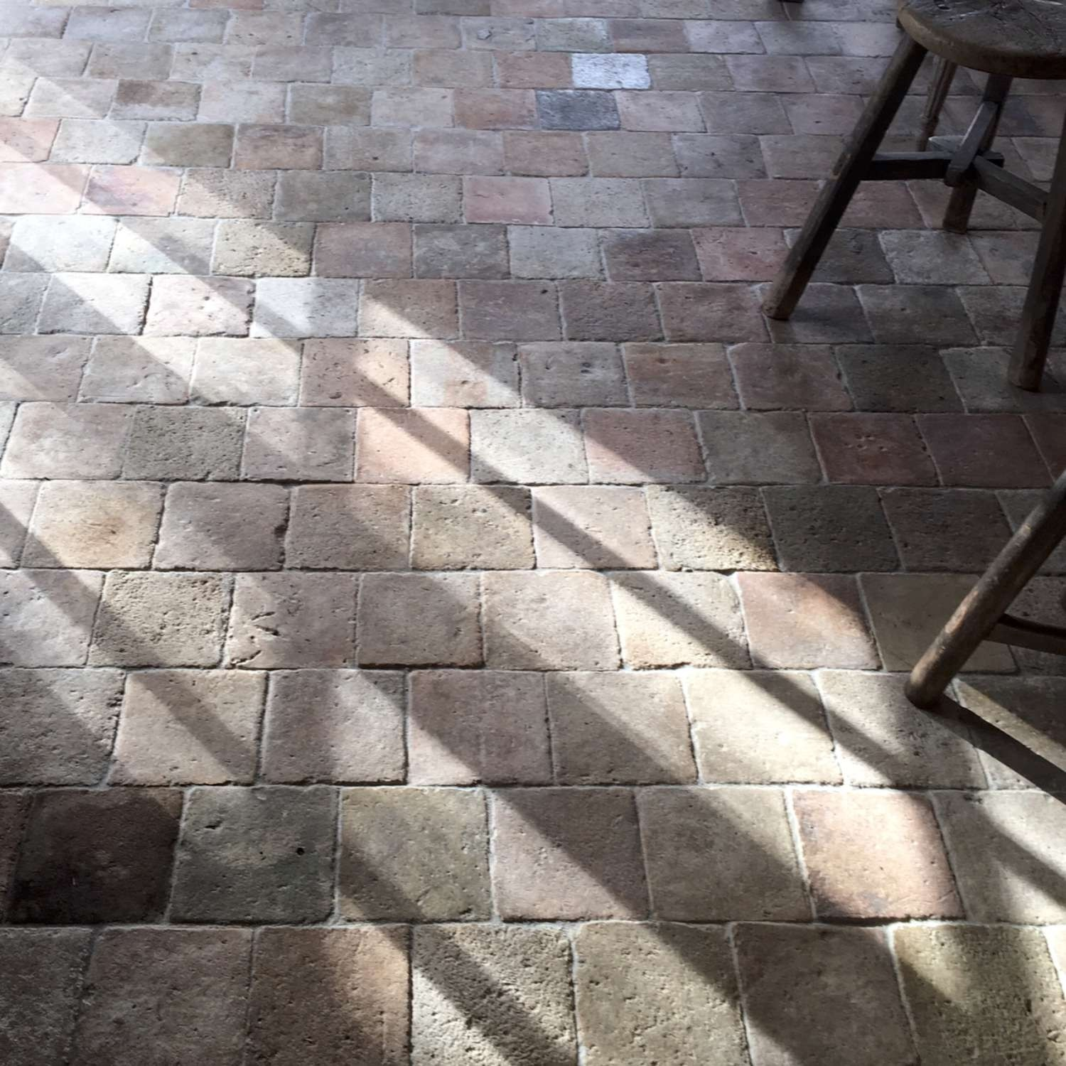 Mix of light antique French terracotta tiles
