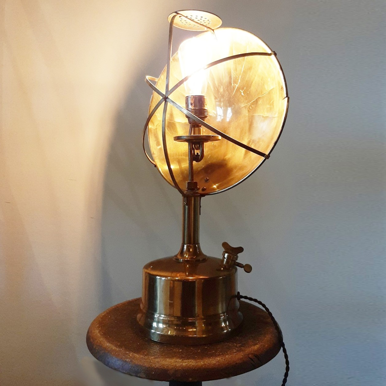Industrial table lamp made from old materials