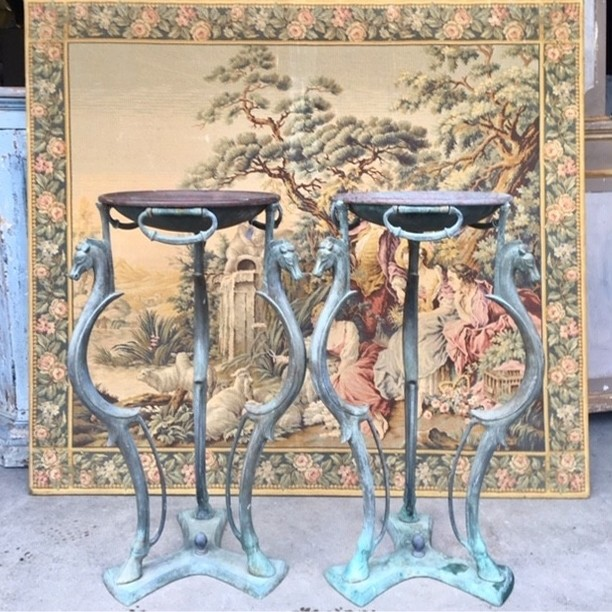 Two Italian bronze 40th years gueridons to use as a plant stand or tables.