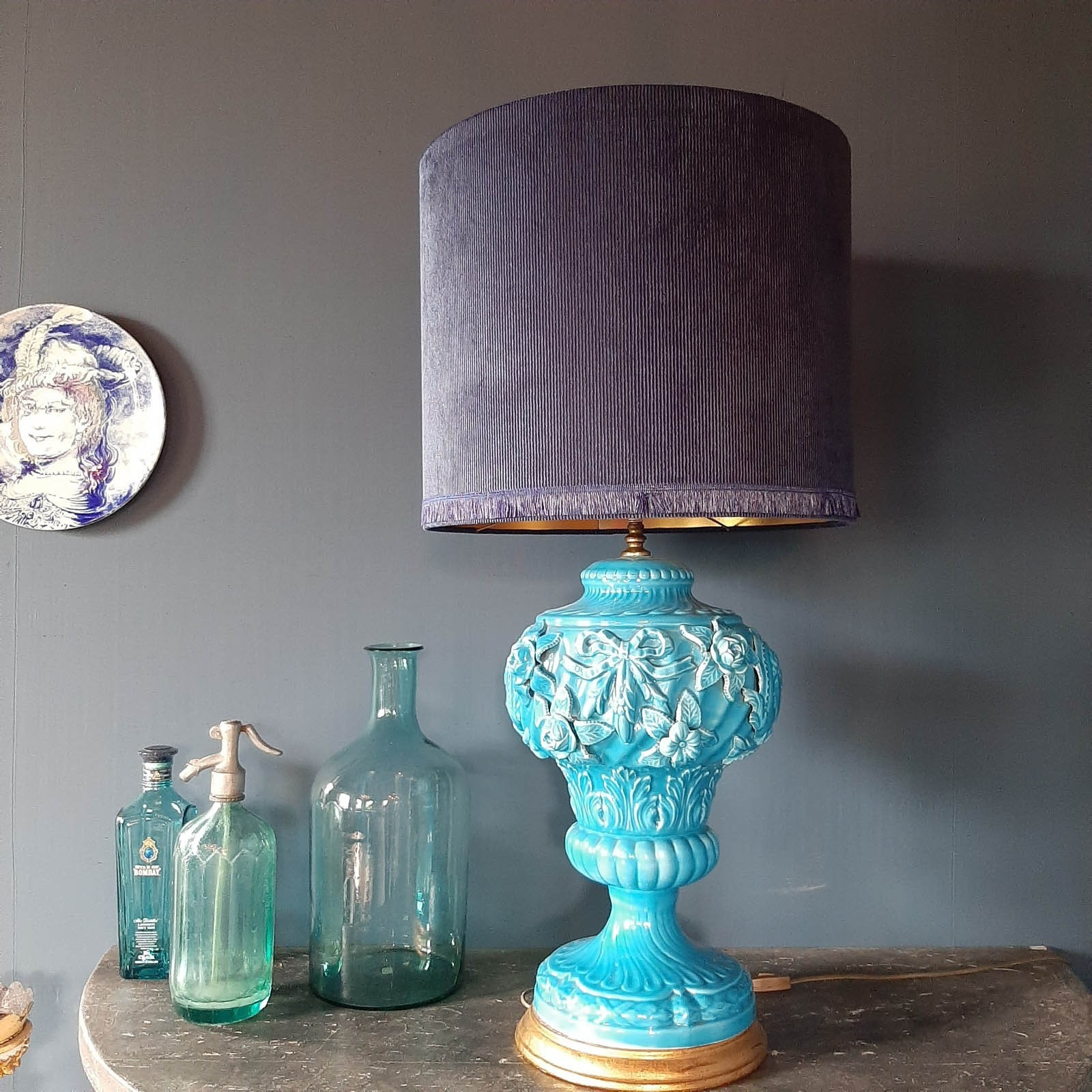 Large midcentury blue manises ceramic table lamp 1950
