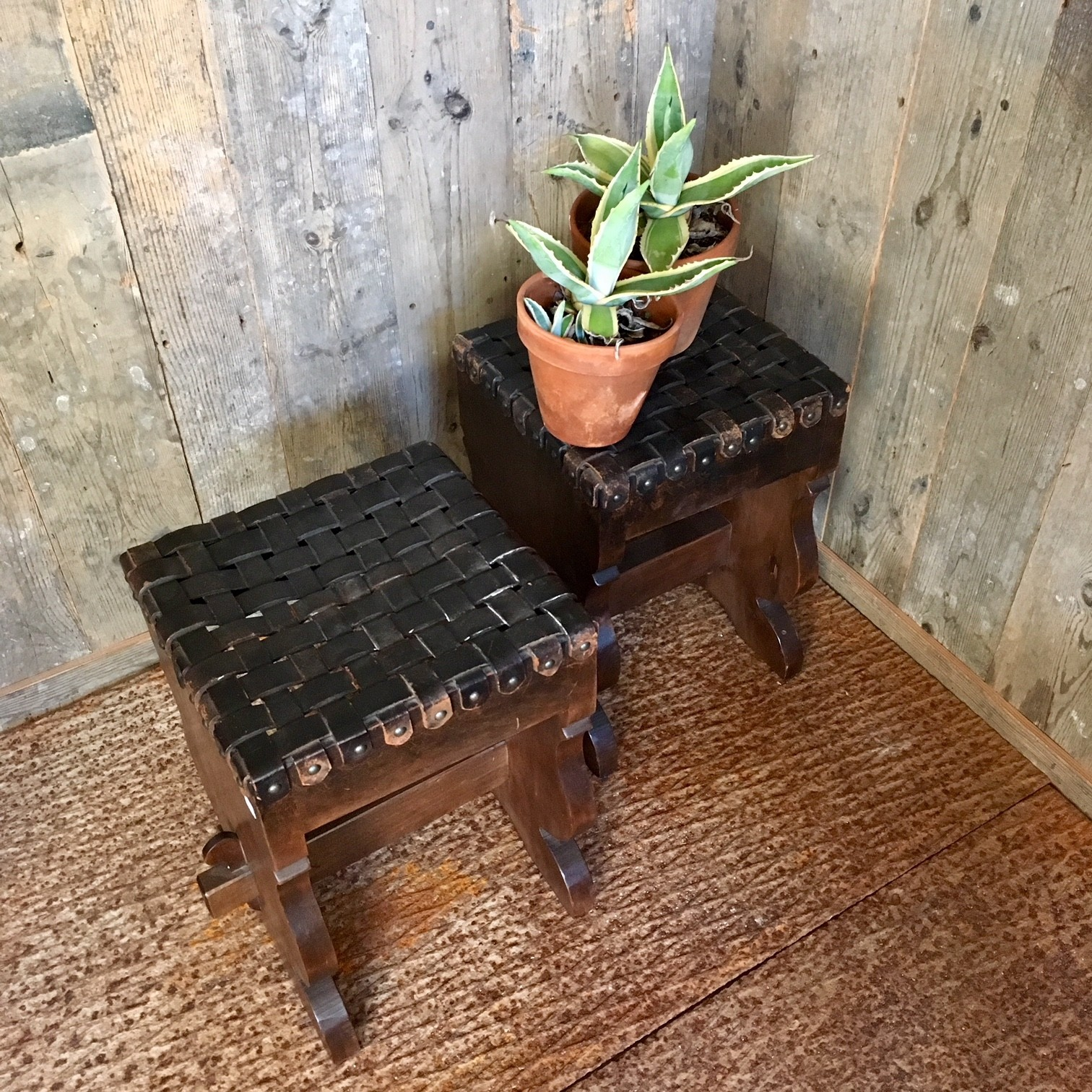 Vintage stools with leather seat