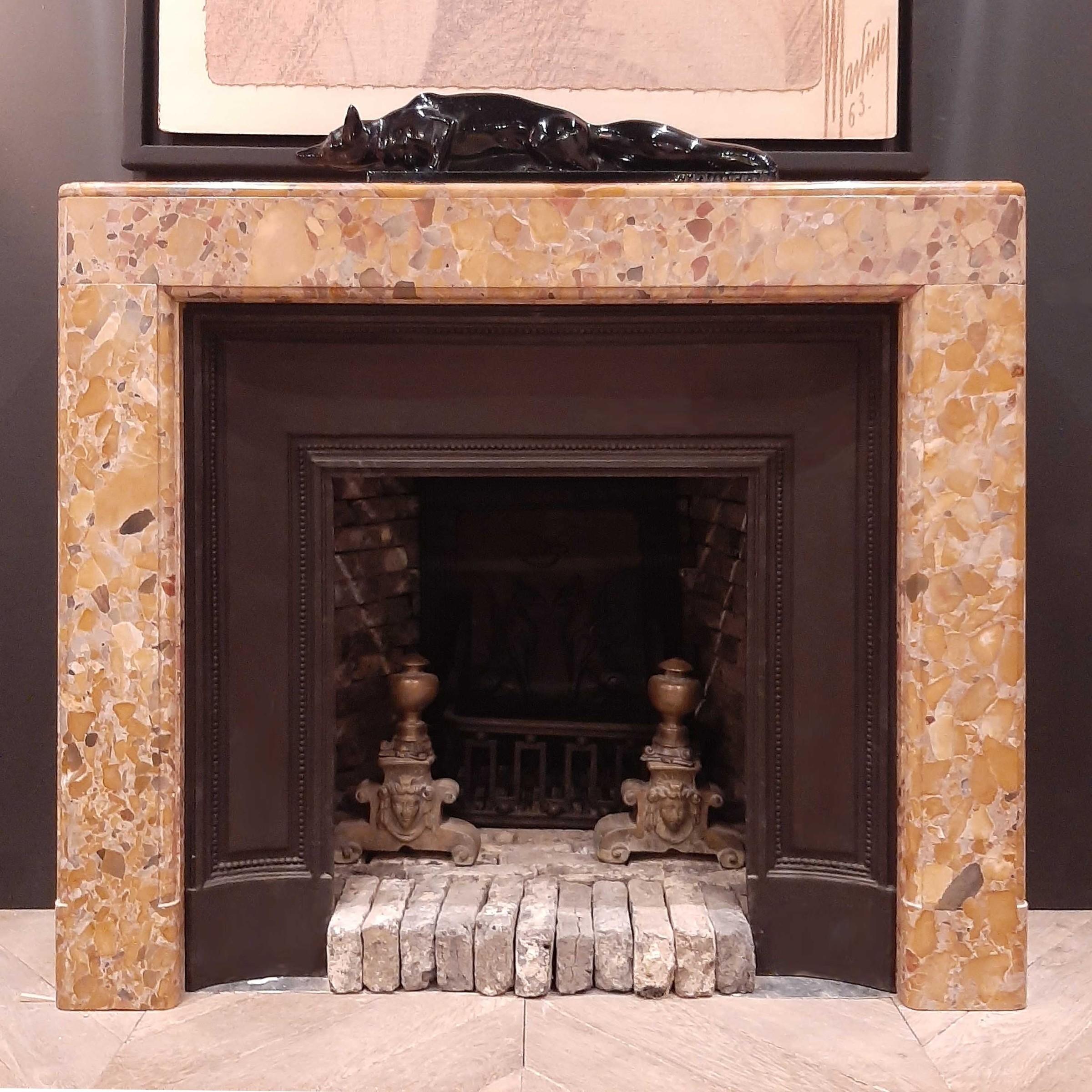 Marble Art Deco fireplace with original cast-iron interior