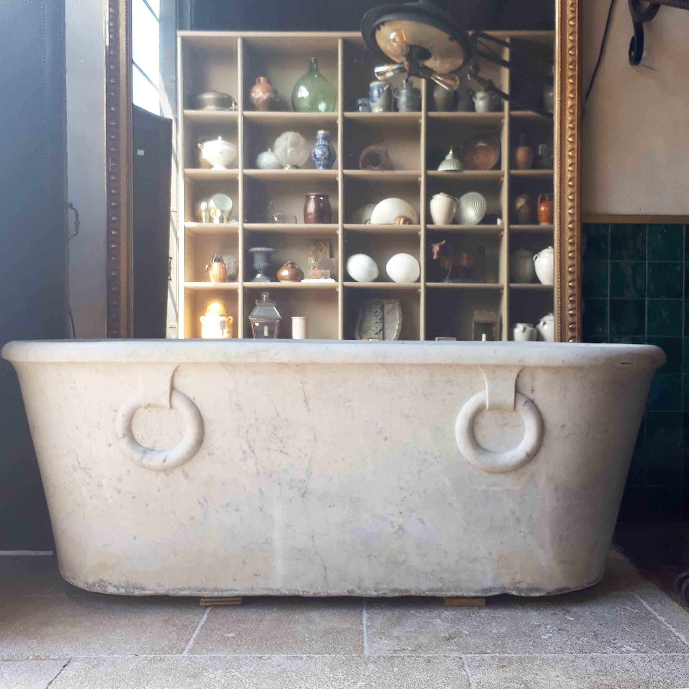 Carrara marble bath in empire style early 19th century