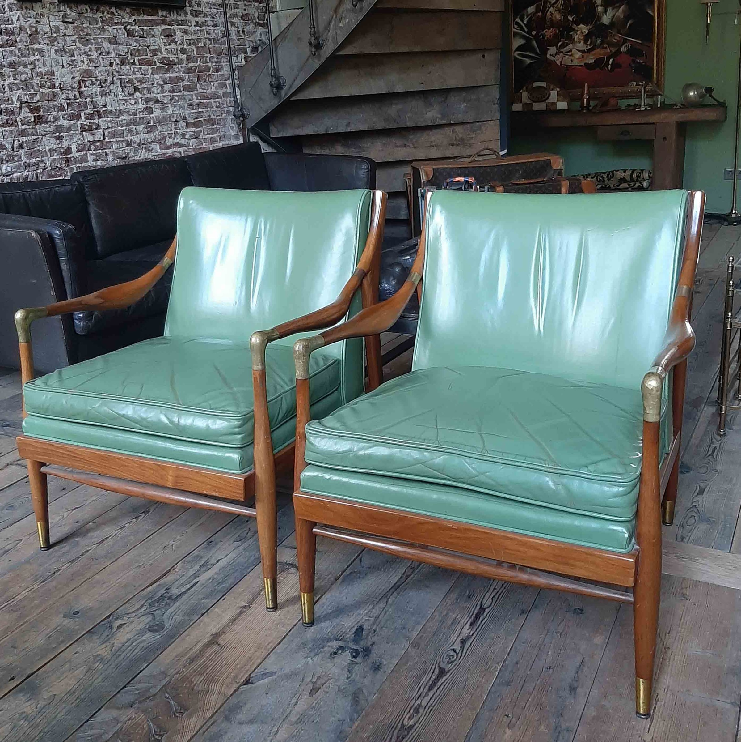 Pair of Kodof-Larsen 60s Danish lounge chairs, green leather and brass accents