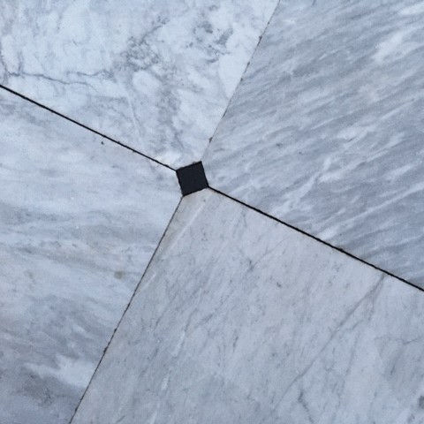Old carrara marble floor tiles 74 x 74 cm with cabochons