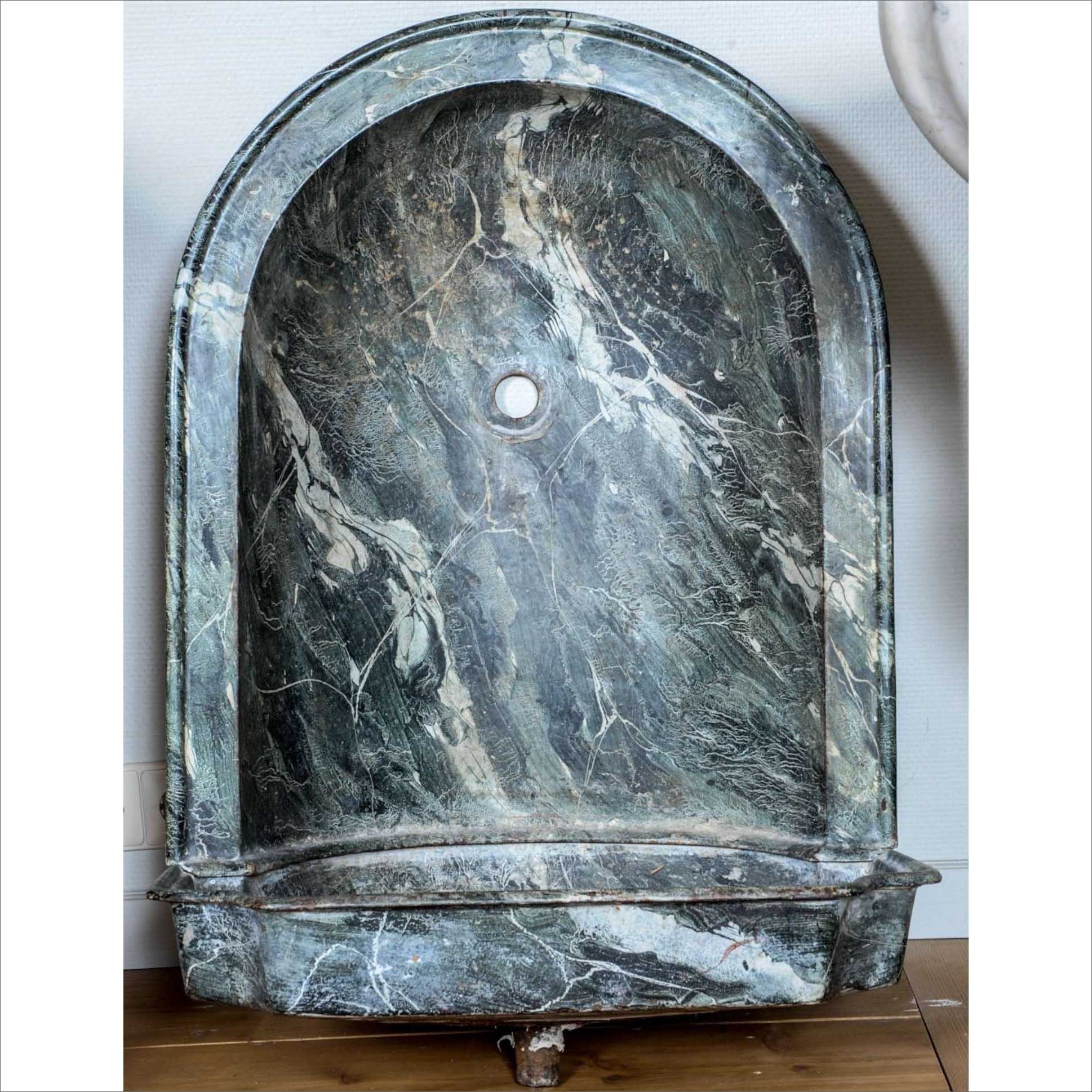 Large cast iron green marbleized (faux marble) wash basin