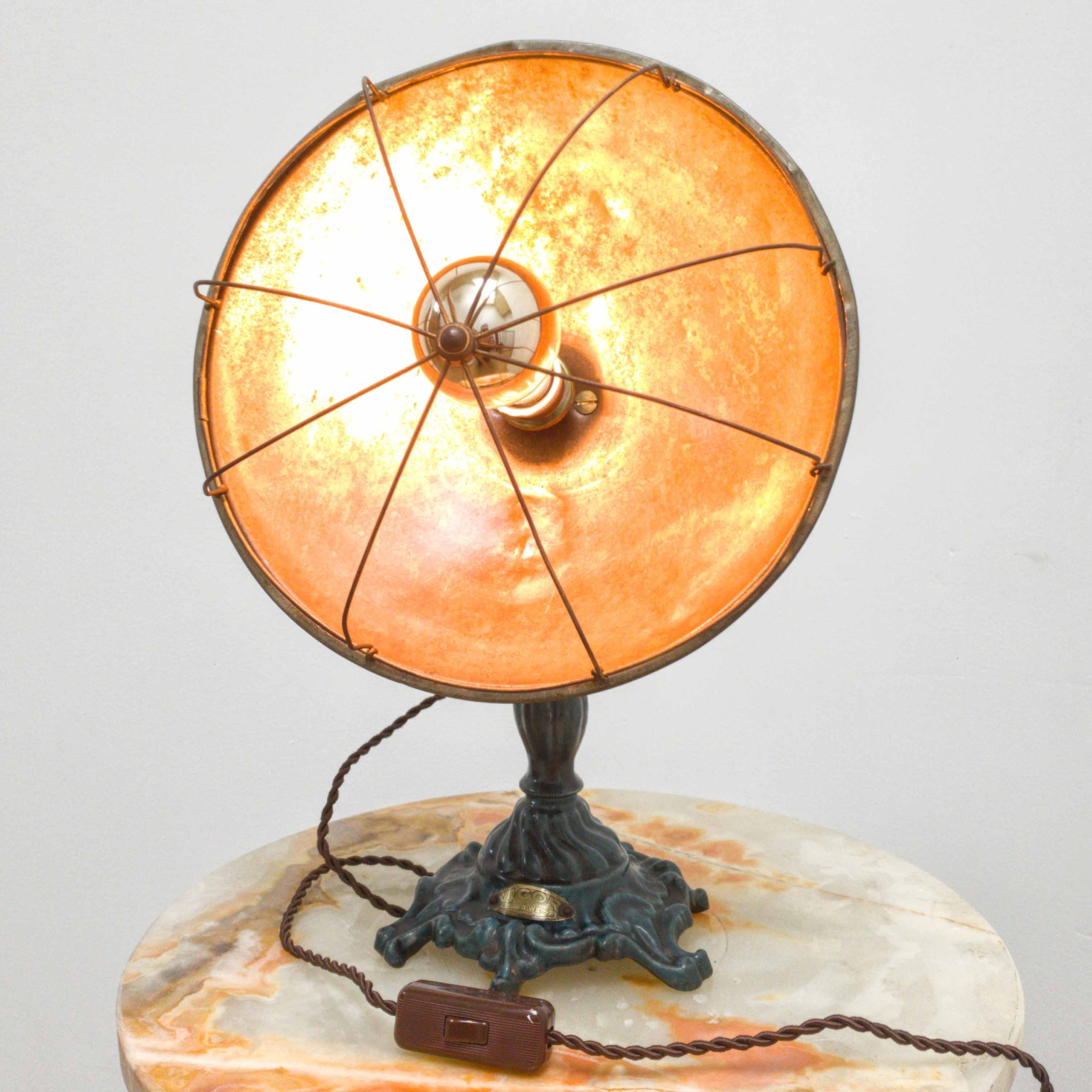 Old industrial table lamps copper or cast iron base