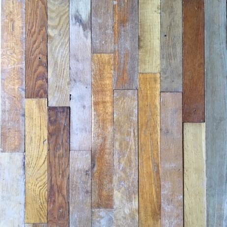 Old strips of oak gym or school floor
