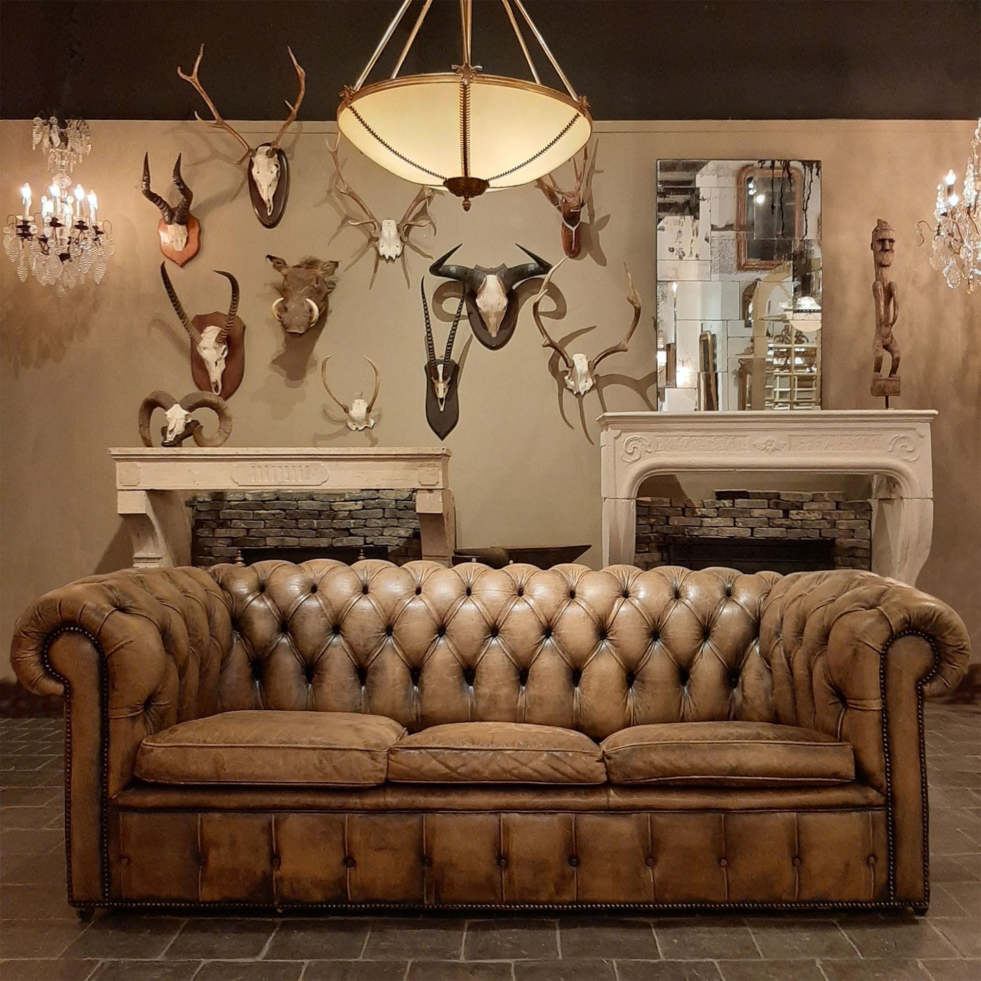 Genuine vintage chesterfield leather sofa