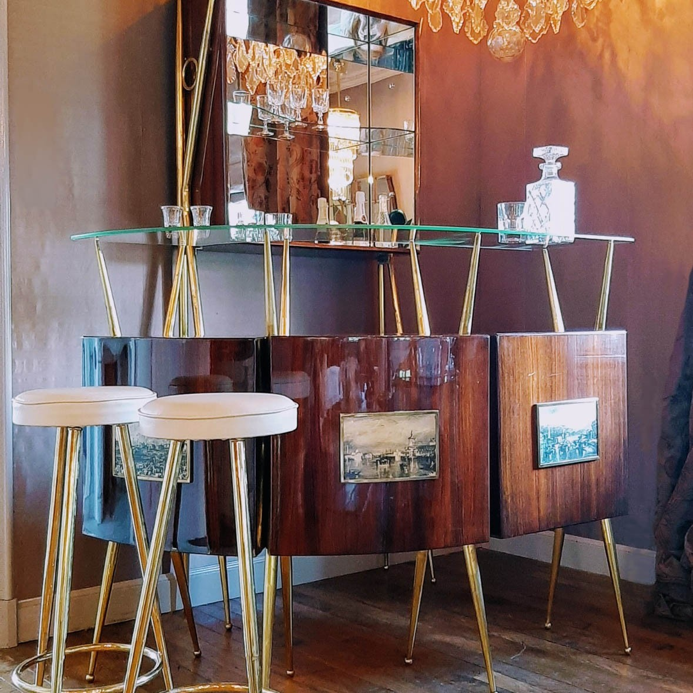 1950s Italian Mahogany home bar with bar cabinet and stools