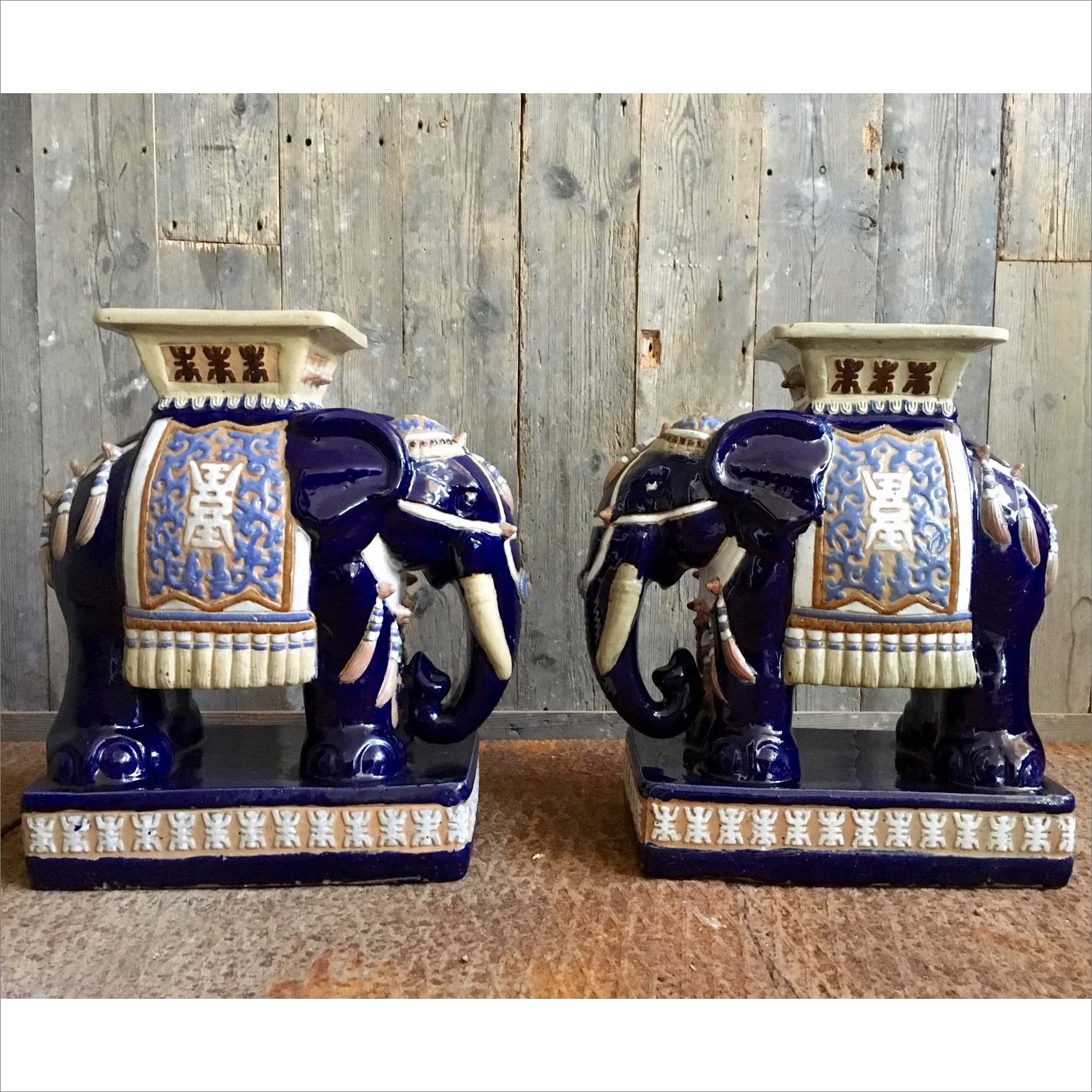 Pair of ceramic Oriental Elephant stools or drinking tables