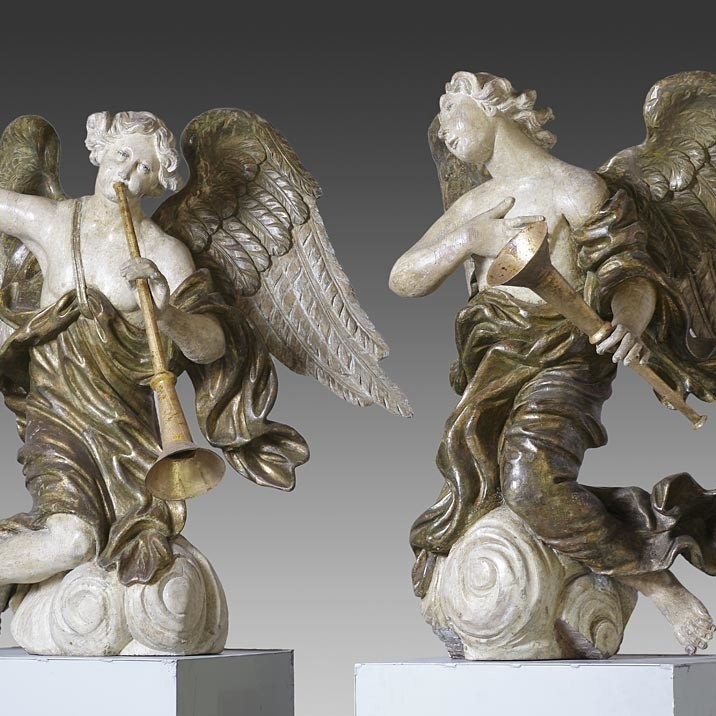 Pair of late 17th Century carved wood figures of angels
