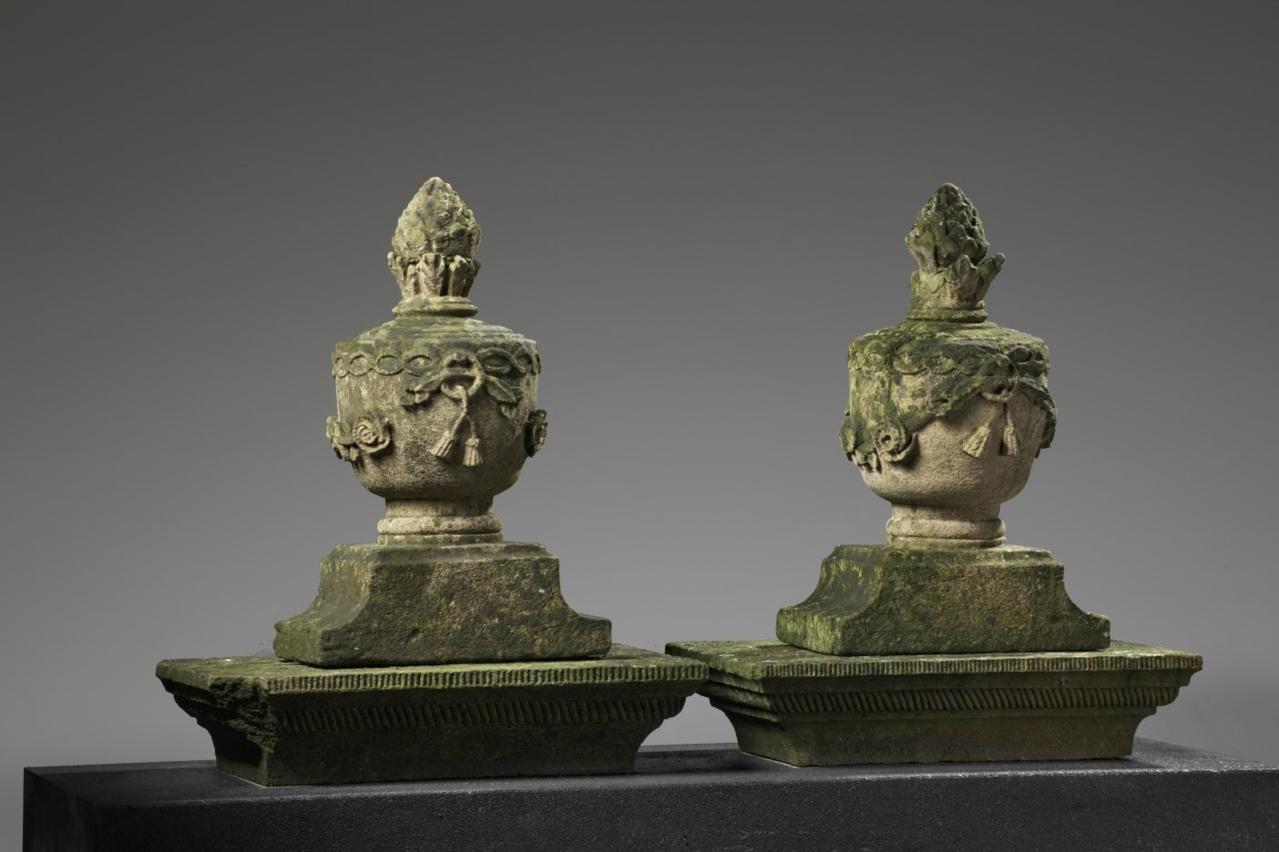 A pair French carved sandstone pier finials