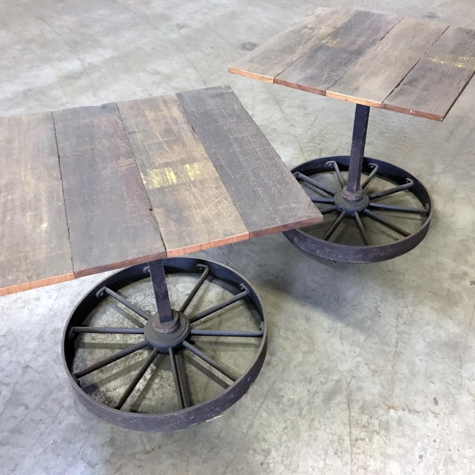 Set tables made of old wagonparts
