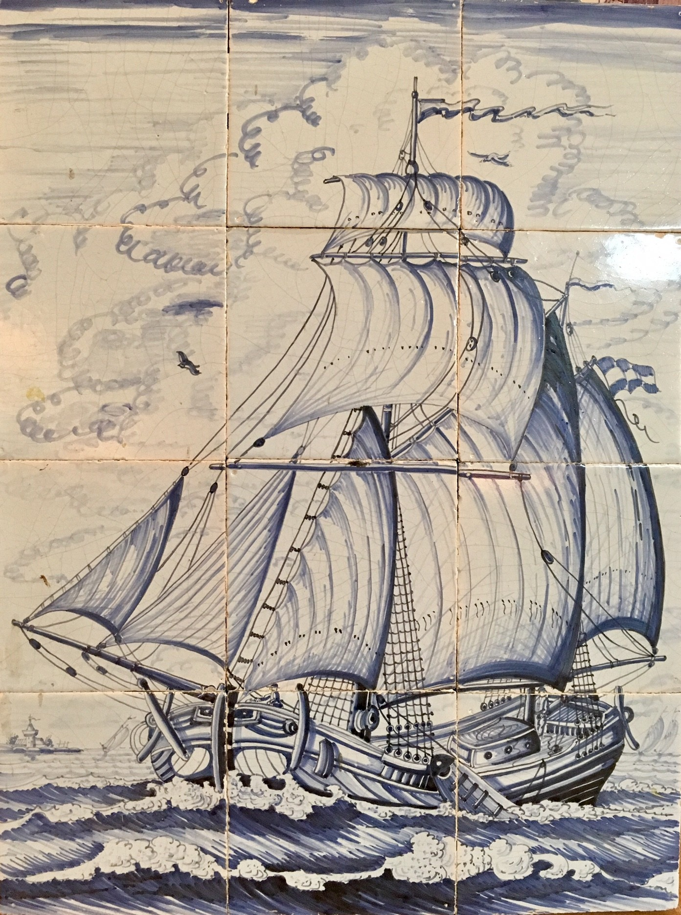 Tile tableau of sailing vessels