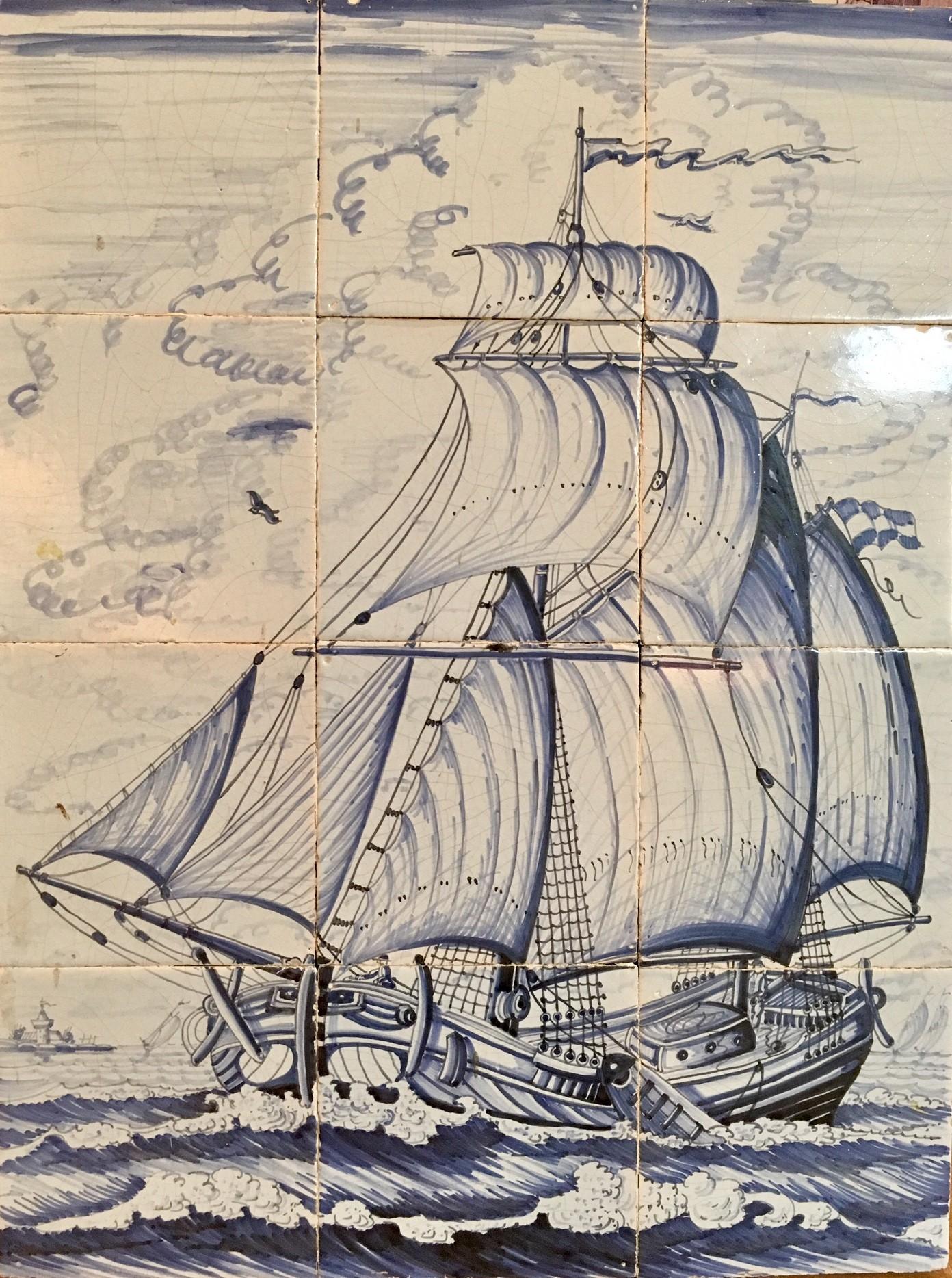 Tile tableau of sailing vessels