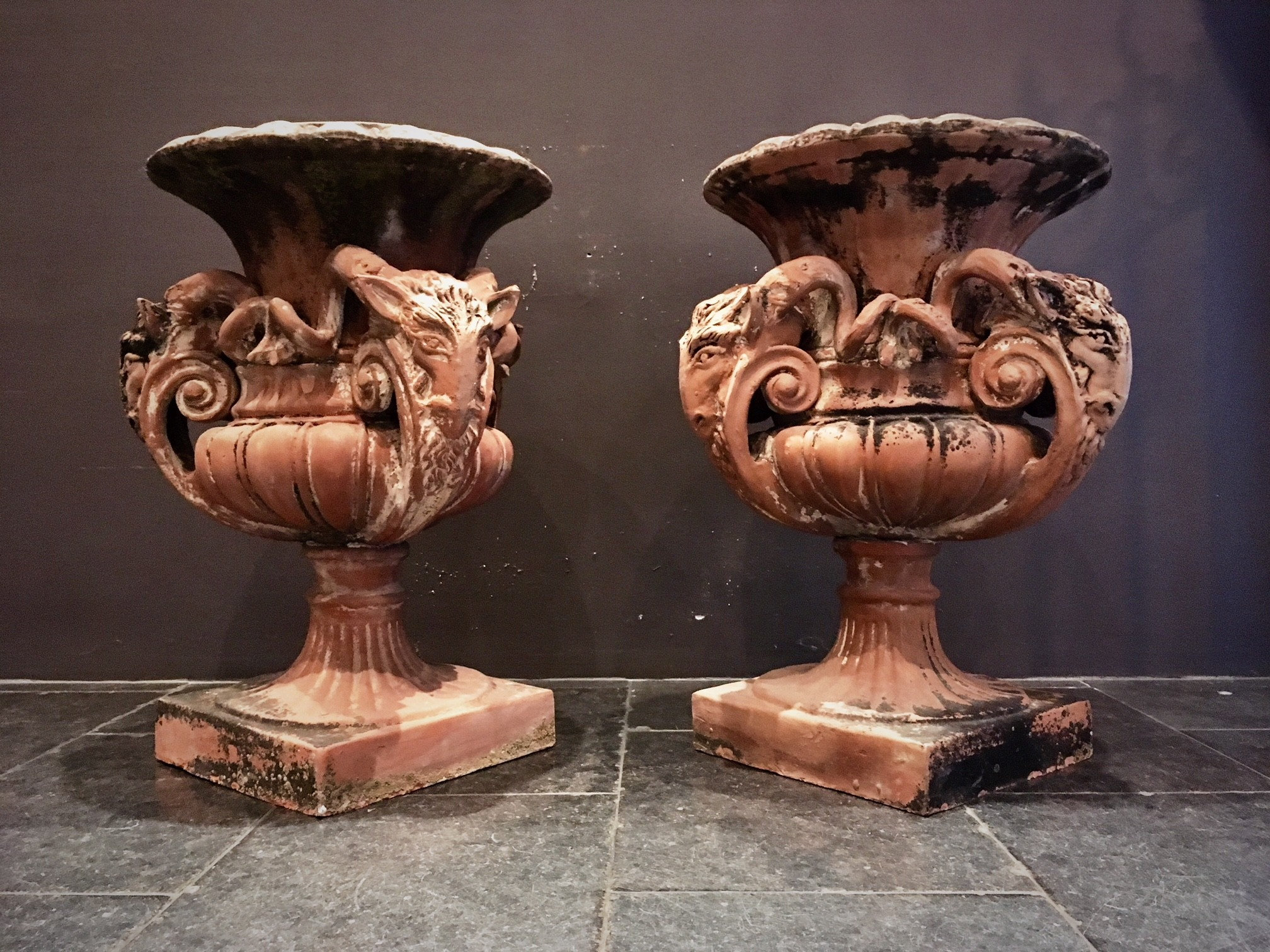 Antique terracotta garden vases