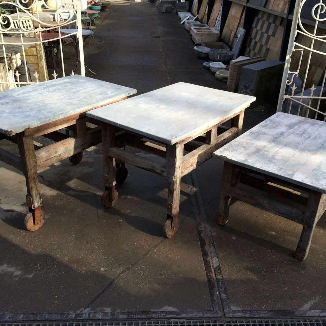 Work tables with a zinc top